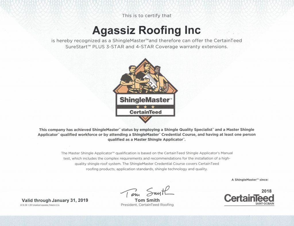 Agassiz Roofing Winnipeg - CertainTeed ShingleMaster Company